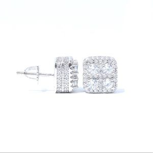 Other - White Gold Finish Lab Diamond 3D Square Earrings